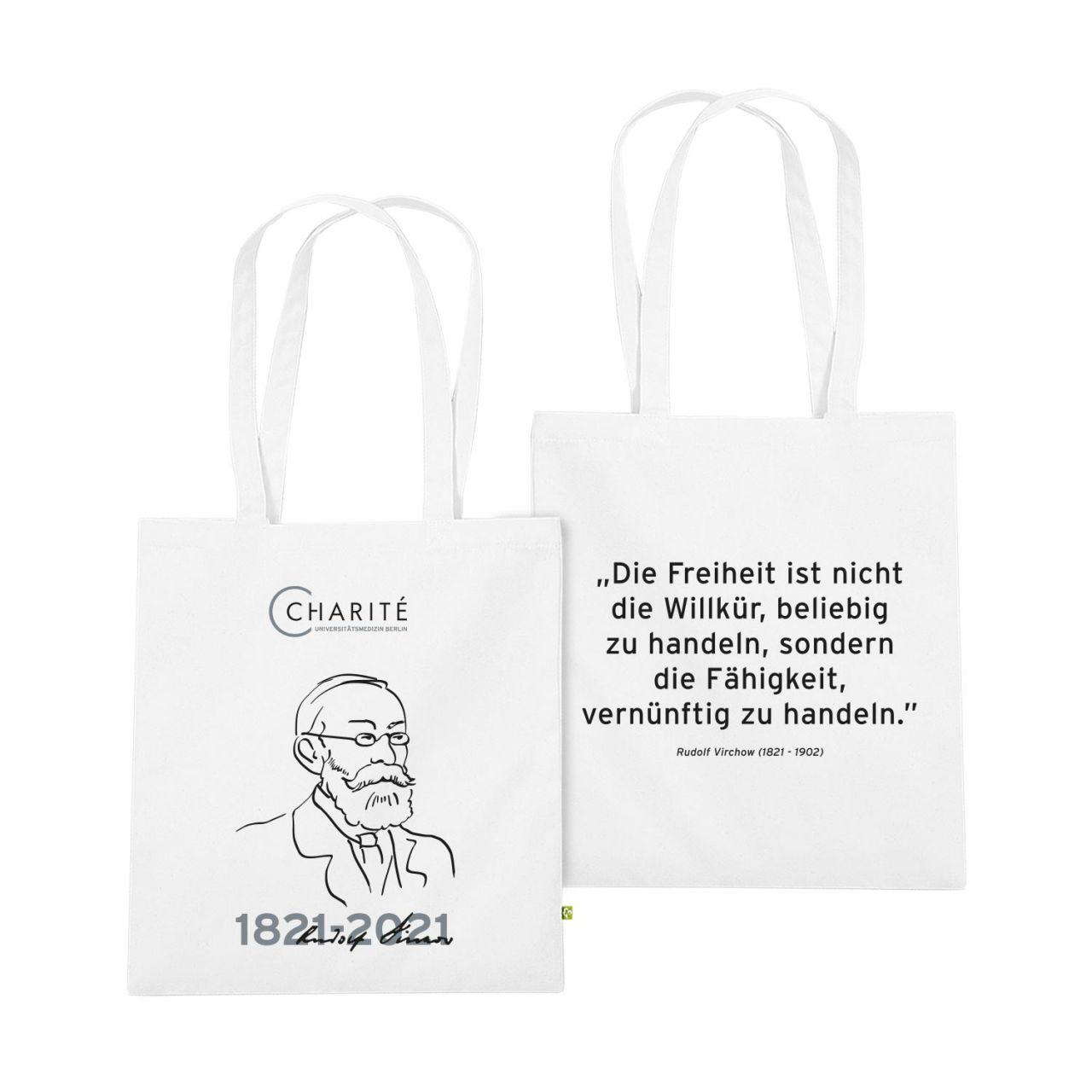 Baumwolltasche, weiss, Rudolf Virchow
