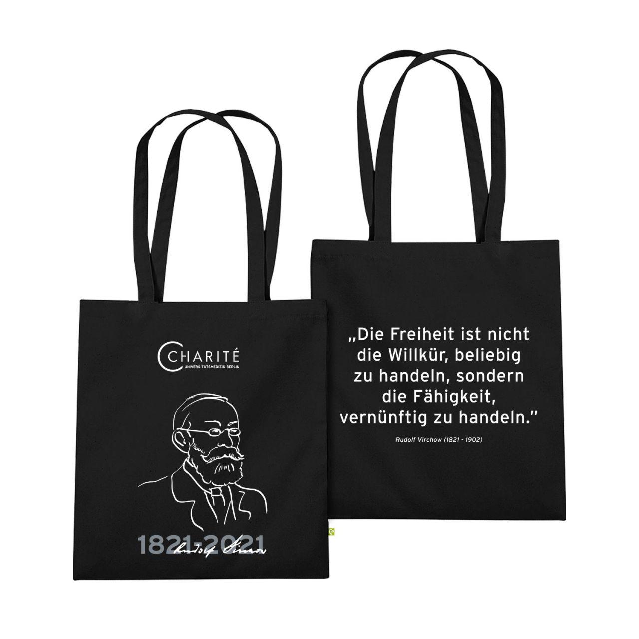 Baumwolltasche, schwarz, Rudolf Virchow